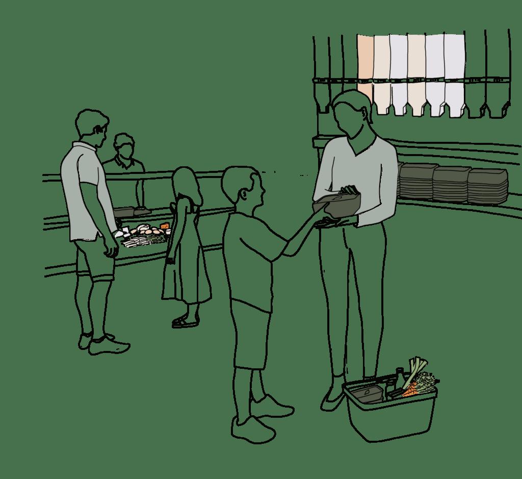 Illustration von der Frischetheke und unverpackt Station - Menschen im Verkaufsraum mit den PFABOs