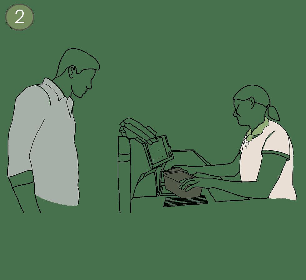 Illustration an der Kasse - Kassiererin zieht die PFABO über den Scanner