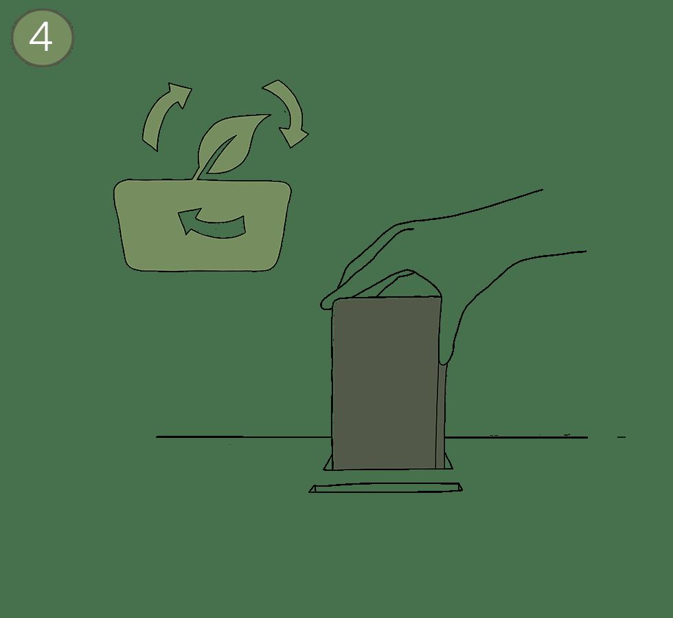 Illustration von der Rückgabesituation - PFABOs werden in die Rückgabe geworfen