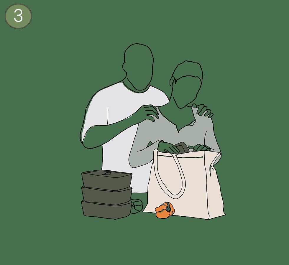 Illustration vom Auspacken mit den PFABOs zu Hause